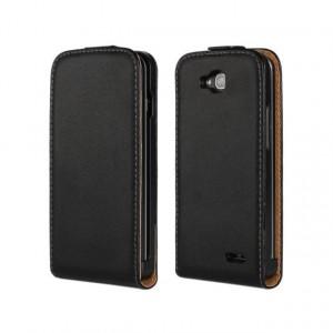 Чехол вертикальная книжка на пластиковой основе на магнитной защелке для LG L90 Черный