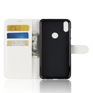 Чехол портмоне подставка на силиконовой основе с отсеком для карт на магнитной защелке для ASUS ZenFone Max Pro M1  Белый