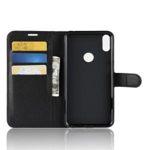 Чехол портмоне подставка на силиконовой основе с отсеком для карт на магнитной защелке для ASUS ZenFone Max Pro M1  Черный
