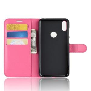 Чехол портмоне подставка на силиконовой основе с отсеком для карт на магнитной защелке для ASUS ZenFone Max Pro M1  Розовый