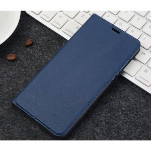 Чехол горизонтальная книжка подставка текстура Линии на пластиковой основе с отсеком для карт для Xiaomi RedMi 6A Синий