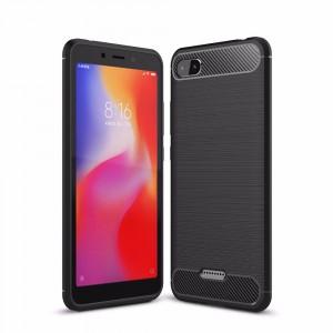 Силиконовый матовый непрозрачный чехол с улучшенной защитой элементов корпуса и текстурным покрытием Металлик для Xiaomi RedMi 6A  Черный