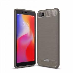 Силиконовый матовый непрозрачный чехол с улучшенной защитой элементов корпуса и текстурным покрытием Металлик для Xiaomi RedMi 6A  Серый
