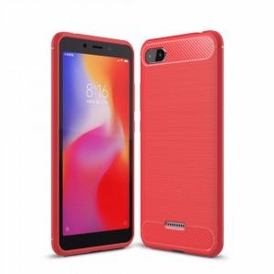 Силиконовый матовый непрозрачный чехол с улучшенной защитой элементов корпуса и текстурным покрытием Металлик для Xiaomi RedMi 6A  Красный