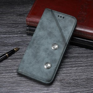 Винтажный чехол горизонтальная книжка подставка на силиконовой основе с отсеком для карт для ASUS ZenFone Max M1 ZB555KL Синий