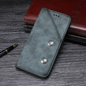 Винтажный чехол горизонтальная книжка подставка на силиконовой основе с отсеком для карт для ASUS ZenFone Max Pro M1  Синий
