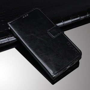 Глянцевый чехол горизонтальная книжка подставка на силиконовой основе с отсеком для карт на магнитной защелке для BQ Universe  Черный