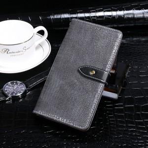 Чехол портмоне подставка текстура Крокодил на силиконовой основе с отсеком для карт на дизайнерской магнитной защелке для BQ Universe Серый