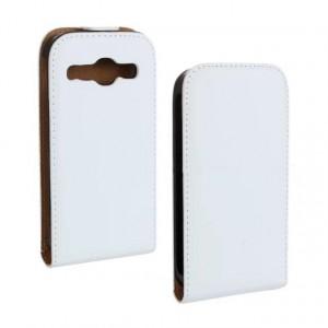 Чехол вертикальная книжка на пластиковой основе на магнитной защелке для Samsung Galaxy Core  Белый