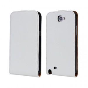 Чехол вертикальная книжка на пластиковой основе на магнитной защелке для Samsung Galaxy Note 2 Белый