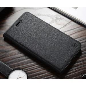 Чехол горизонтальная книжка подставка текстура Дерево на пластиковой основе с отсеком для карт для Xiaomi RedMi 6A Черный
