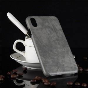 Пластиковый непрозрачный матовый чехол с текстурным покрытием Кожа для Iphone Xs Max  Серый