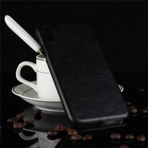 Пластиковый непрозрачный матовый чехол с текстурным покрытием Кожа для Iphone Xs Max  Черный