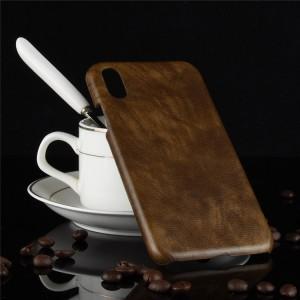 Пластиковый непрозрачный матовый чехол с текстурным покрытием Кожа для Iphone Xs Max  Коричневый