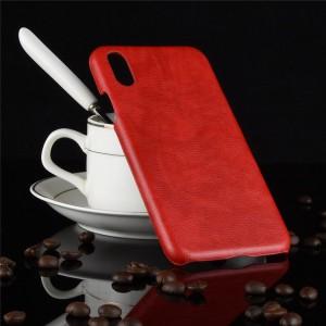 Пластиковый непрозрачный матовый чехол с текстурным покрытием Кожа для Iphone Xs Max  Красный