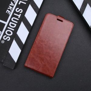 Глянцевый водоотталкивающий чехол вертикальная книжка на силиконовой основе с отсеком для карт на магнитной защелке для Iphone Xr  Коричневый