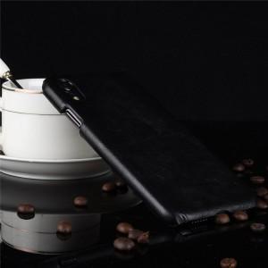 Пластиковый непрозрачный матовый чехол с текстурным покрытием Кожа для Iphone Xr  Черный