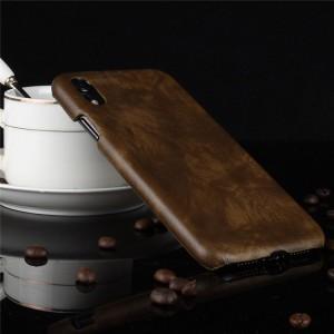 Пластиковый непрозрачный матовый чехол с текстурным покрытием Кожа для Iphone Xr  Коричневый