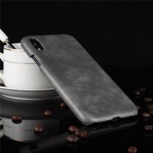 Пластиковый непрозрачный матовый чехол с текстурным покрытием Кожа для Iphone Xr  Серый
