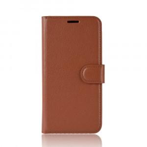 Чехол портмоне подставка на силиконовой основе с отсеком для карт на магнитной защелке для Iphone Xr  Коричневый