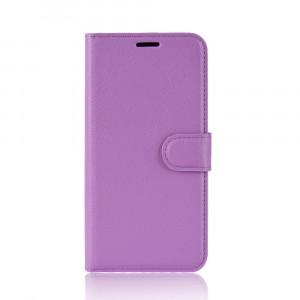 Чехол портмоне подставка на силиконовой основе с отсеком для карт на магнитной защелке для Iphone Xr  Фиолетовый