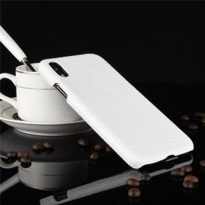 Пластиковый непрозрачный матовый чехол накладка с текстурным покрытием Кожа крокодила для Iphone Xr  Белый
