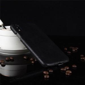 Пластиковый непрозрачный матовый чехол накладка с текстурным покрытием Кожа крокодила для Iphone Xr  Черный