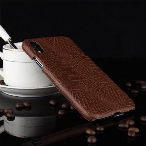 Пластиковый непрозрачный матовый чехол накладка с текстурным покрытием Кожа крокодила для Iphone Xr  Коричневый