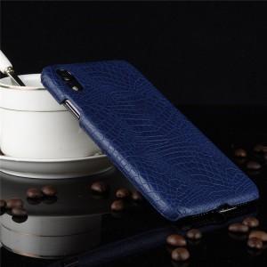 Пластиковый непрозрачный матовый чехол накладка с текстурным покрытием Кожа крокодила для Iphone Xr  Синий