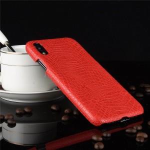 Пластиковый непрозрачный матовый чехол накладка с текстурным покрытием Кожа крокодила для Iphone Xr  Красный