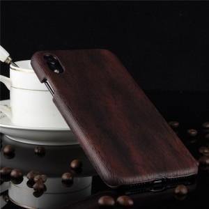 Пластиковый непрозрачный матовый чехол накладка с текстурным покрытием Дерево для Iphone Xr  Черный