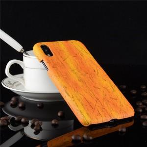 Пластиковый непрозрачный матовый чехол накладка с текстурным покрытием Дерево для Iphone Xr  Оранжевый