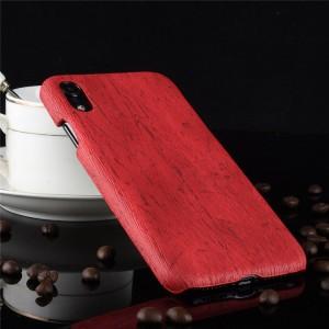 Пластиковый непрозрачный матовый чехол накладка с текстурным покрытием Дерево для Iphone Xr  Красный