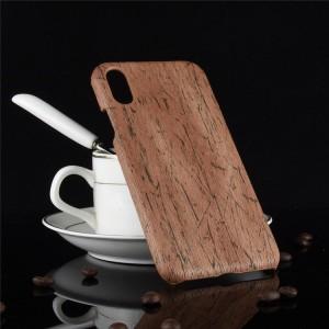 Пластиковый непрозрачный матовый чехол с текстурным покрытием Дерево для Iphone Xs Max  Коричневый