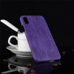 Пластиковый непрозрачный матовый чехол с текстурным покрытием Дерево для Iphone Xs Max  Фиолетовый