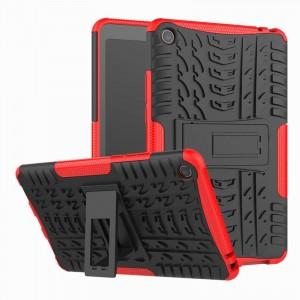 Противоударный двухкомпонентный силиконовый матовый непрозрачный чехол с нескользящими гранями и поликарбонатными вставками для экстрим защиты с встроенной ножкой-подставкой для Xiaomi Mi Pad 4  Красный