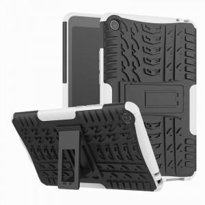 Противоударный двухкомпонентный силиконовый матовый непрозрачный чехол с нескользящими гранями и поликарбонатными вставками для экстрим защиты с встроенной ножкой-подставкой для Xiaomi Mi Pad 4  Белый