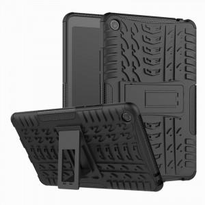 Противоударный двухкомпонентный силиконовый матовый непрозрачный чехол с нескользящими гранями и поликарбонатными вставками для экстрим защиты с встроенной ножкой-подставкой для Xiaomi Mi Pad 4  Черный