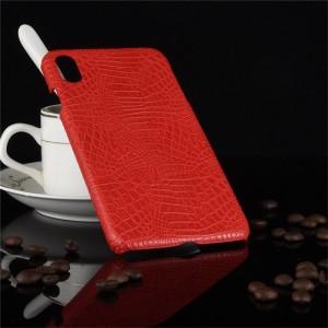 Пластиковый непрозрачный матовый чехол накладка с текстурным покрытием Кожа крокодила для Iphone Xs Max Красный
