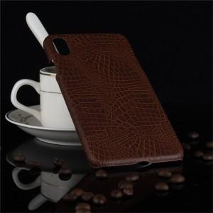 Пластиковый непрозрачный матовый чехол накладка с текстурным покрытием Кожа крокодила для Iphone Xs Max Коричневый