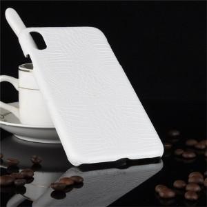 Пластиковый непрозрачный матовый чехол накладка с текстурным покрытием Кожа крокодила для Iphone Xs Max Белый