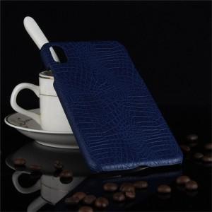 Пластиковый непрозрачный матовый чехол накладка с текстурным покрытием Кожа крокодила для Iphone Xs Max Синий