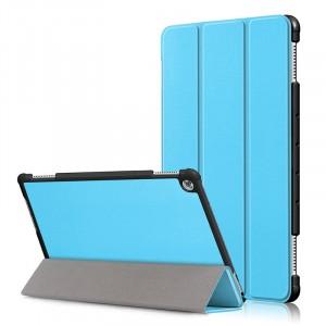 Сегментарный чехол книжка подставка на непрозрачной поликарбонатной основе для Huawei MediaPad M5 Lite  Голубой