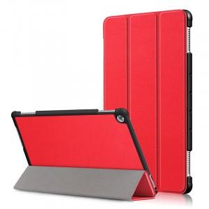 Сегментарный чехол книжка подставка на непрозрачной поликарбонатной основе для Huawei MediaPad M5 Lite  Красный