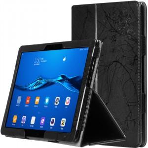 Чехол книжка подставка текстура Узоры с рамочной защитой экрана и поддержкой кисти для Huawei MediaPad M5 Lite  Черный