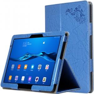 Чехол книжка подставка текстура Узоры с рамочной защитой экрана и поддержкой кисти для Huawei MediaPad M5 Lite  Синий