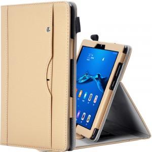 Чехол книжка подставка с рамочной защитой экрана, крепежом для стилуса, отсеком для карт и поддержкой кисти для Huawei MediaPad M5 Lite  Бежевый