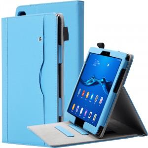 Чехол книжка подставка с рамочной защитой экрана, крепежом для стилуса, отсеком для карт и поддержкой кисти для Huawei MediaPad M5 Lite  Голубой