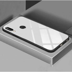 Силиконовый матовый непрозрачный чехол с глянцевой стеклянной накладкой для Huawei P20 Lite