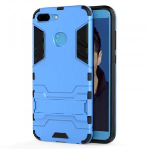 Противоударный двухкомпонентный силиконовый матовый непрозрачный чехол с поликарбонатными вставками экстрим защиты с встроенной ножкой-подставкой для Huawei Honor 9 Lite